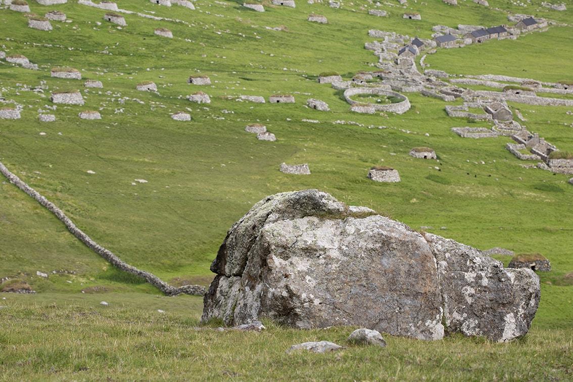 The Milking Stone, overlooking the village on St Kilda