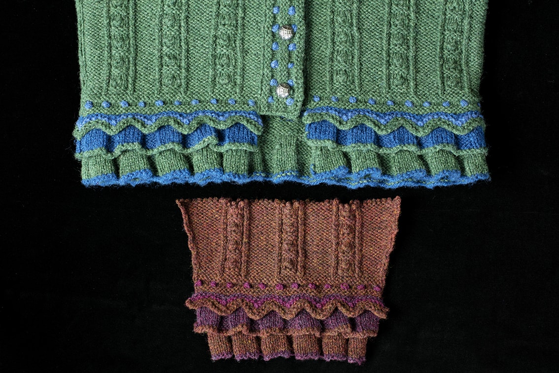 Mary Queen of Scots design from Tudor Roses by Alice Starmore and developmental swatch