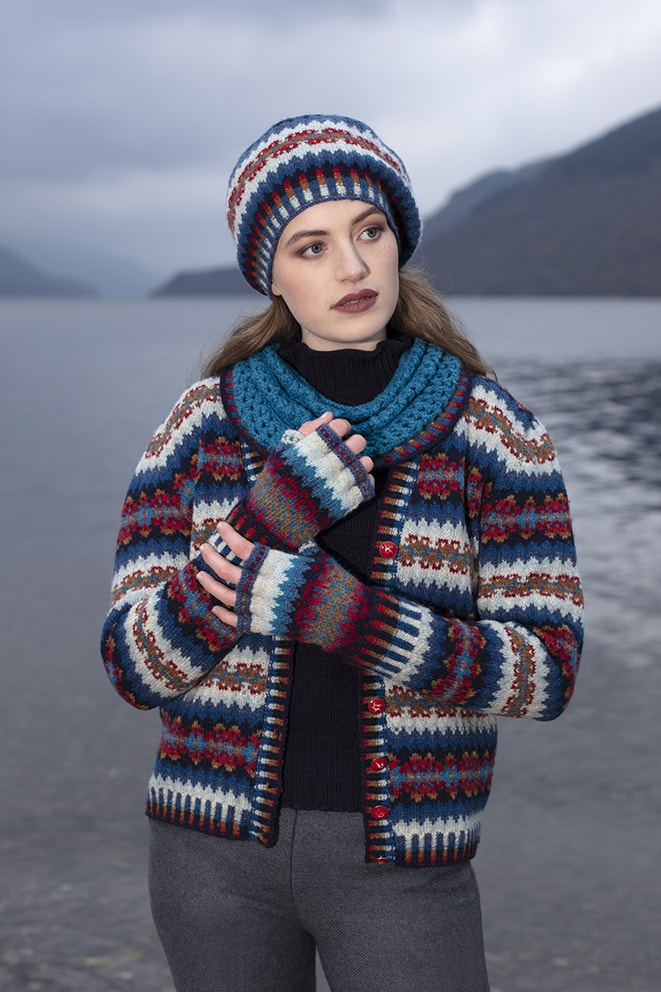 Wave Hat Set patterncard knitwear design by Alice Starmore in pure wool Hebridean 2 Ply hand knitting yarn