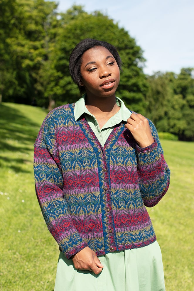 Lalleli patterncard knitwear design by Jade Starmore in pure wool Hebridean 2 Ply hand knitting yarn