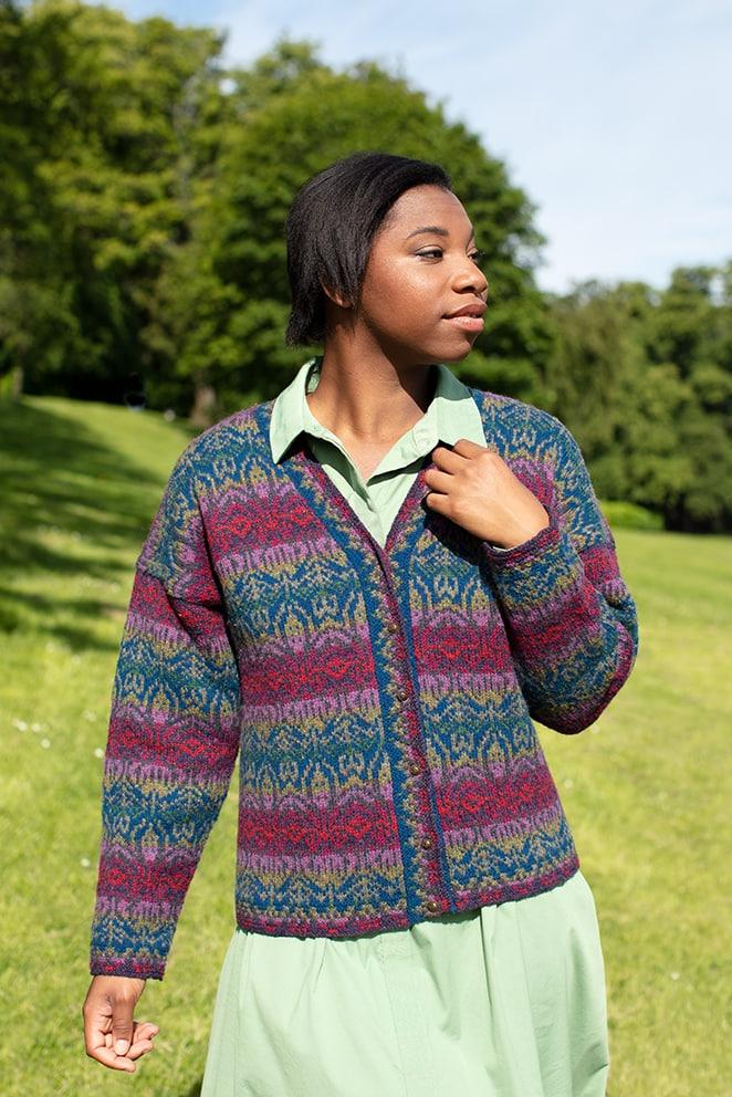 Lalleli patterncard knitwear design by Jade Starmore in pure wool Hebridean 2 Ply hand knitting yarn