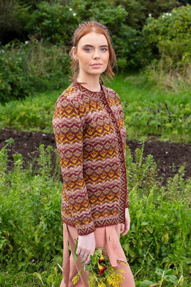 Painted Lady patterncard knitwear design by Jade Starmore in pure wool Hebridean 2 Ply hand knitting yarn