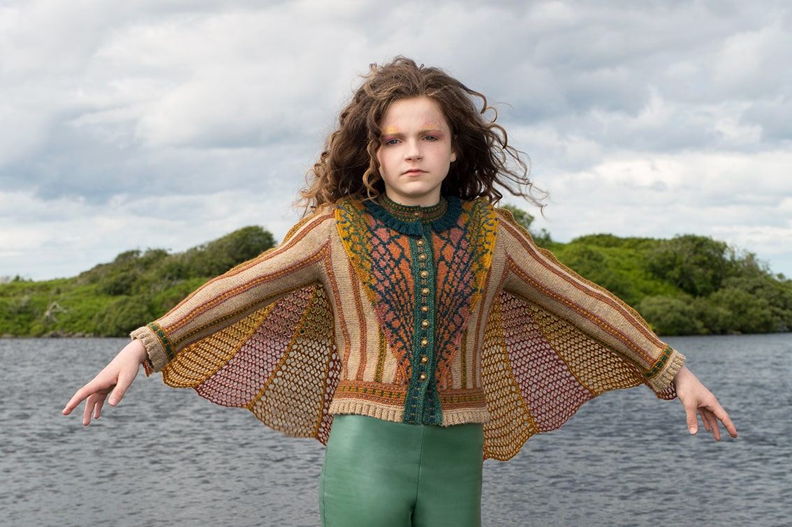 Damselfly costume knitwear design by Alice Starmore in pure wool Hebridean 2 Ply hand knitting yarn
