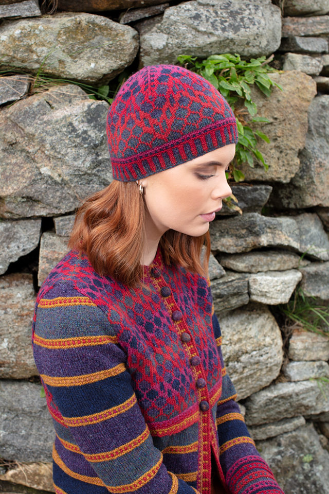 Damselfly Hat Set and cardigan designs by Alice Starmore in pure wool Hebridean 2 Ply hand knitting yarn