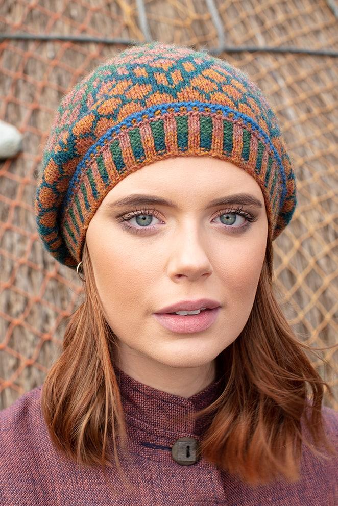 Damselfly Hat Set patterncard knitwear design in Emerald colourway by Alice Starmore in pure wool Hebridean 2 Ply hand knitting yarn