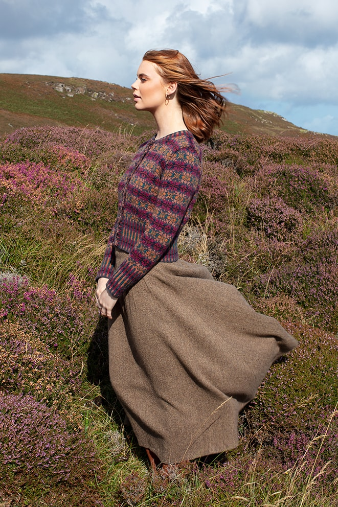 Mòinteach patterncard knitwear design by Alice Starmore in pure wool Hebridean 2 Ply hand knitting yarn