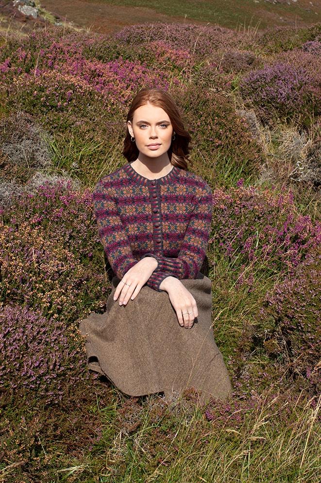 Mòinteach patterncard knitwear design by Alice Starmore in pure wool Hebridean 2 Ply hand knitting yarn