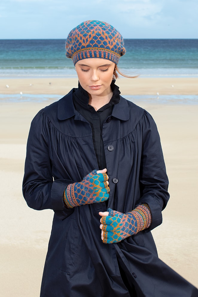 Damselfly Hat Set patterncard knitwear design in Northern Blue colourway by Alice Starmore in pure wool Hebridean 2 Ply hand knitting yarn