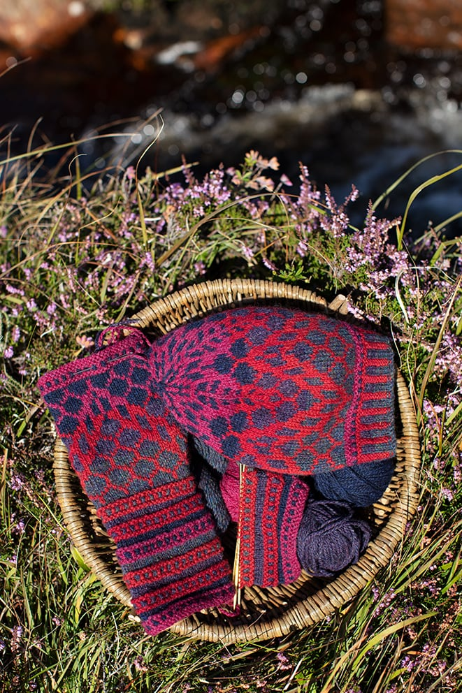 Damselfly Hat Set patterncard knitwear design in Red colourway by Alice Starmore in pure wool Hebridean 2 Ply hand knitting yarn