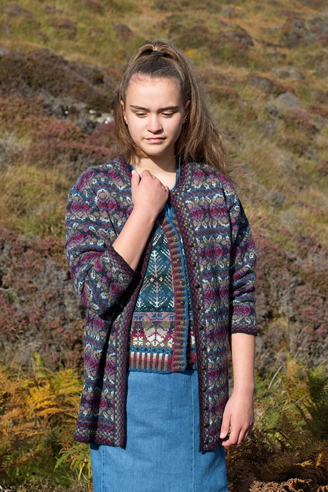 Abalone and Oregon Waistcoat patterncard knitwear designs by Alice Starmore in pure wool Hebridean 2 Ply hand knitting yarn