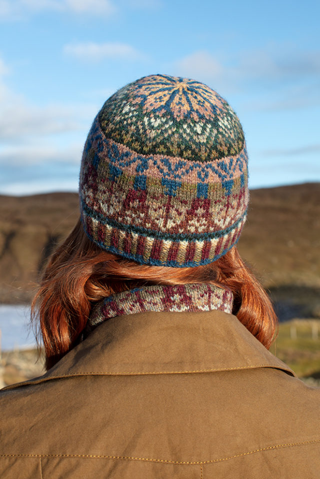 Oregon Spring Hat Set patterncard knitwear design by Alice Starmore in pure wool Hebridean 2 Ply hand knitting yarn