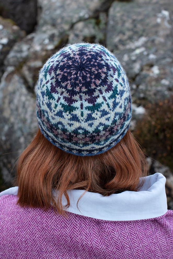 Hat Trick Hat Set patterncard knitwear design by Alice Starmore in pure wool Hebridean 2 Ply hand knitting yarn