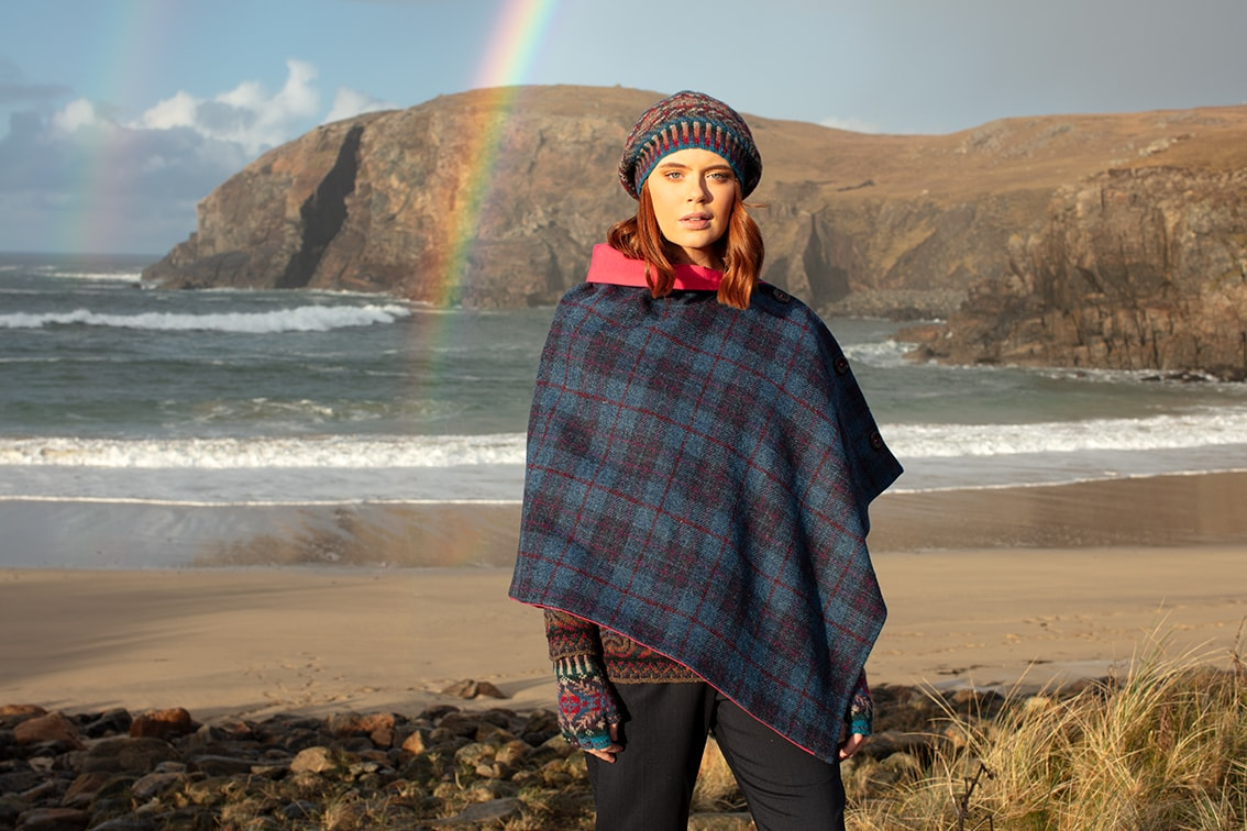 Marina Hat Set and Donegal patterncard knitwear designs by Alice Starmore in pure wool Hebridean 2 Ply hand knitting yarn