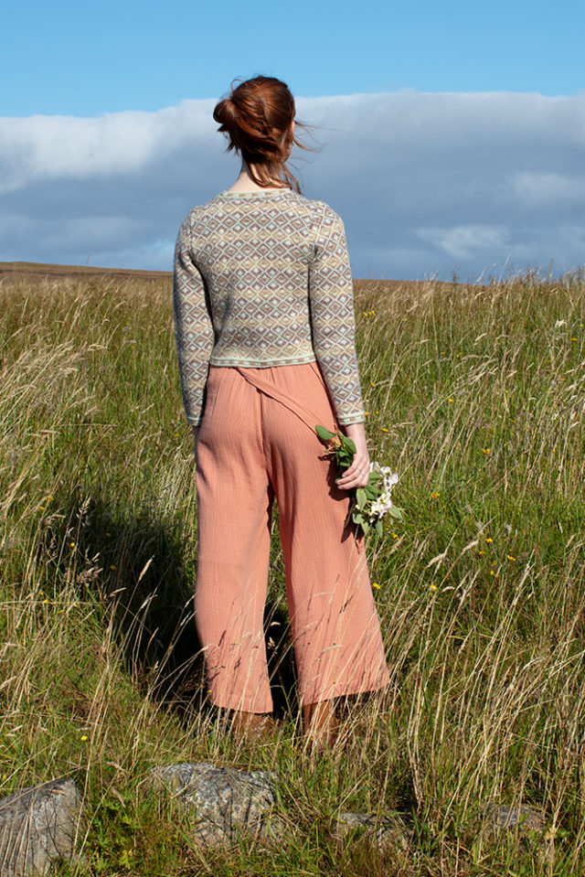 Delta Cropped patterncard knitwear design by Jade Starmore in pure wool Hebridean 2 Ply hand knitting yarn