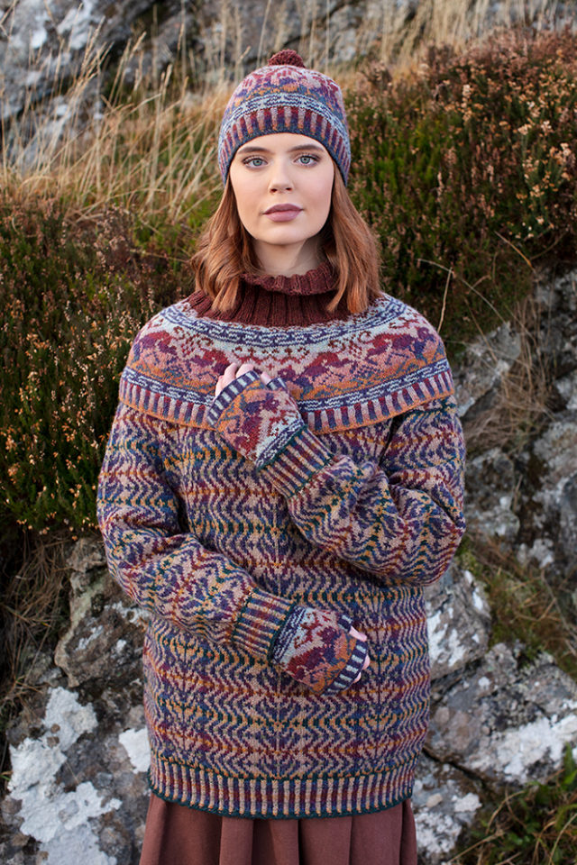 Hawk & Hound and Selkie Pullover patterncard knitwear designs by Alice Starmore in pure wool Hebridean 2 Ply hand knitting yarn