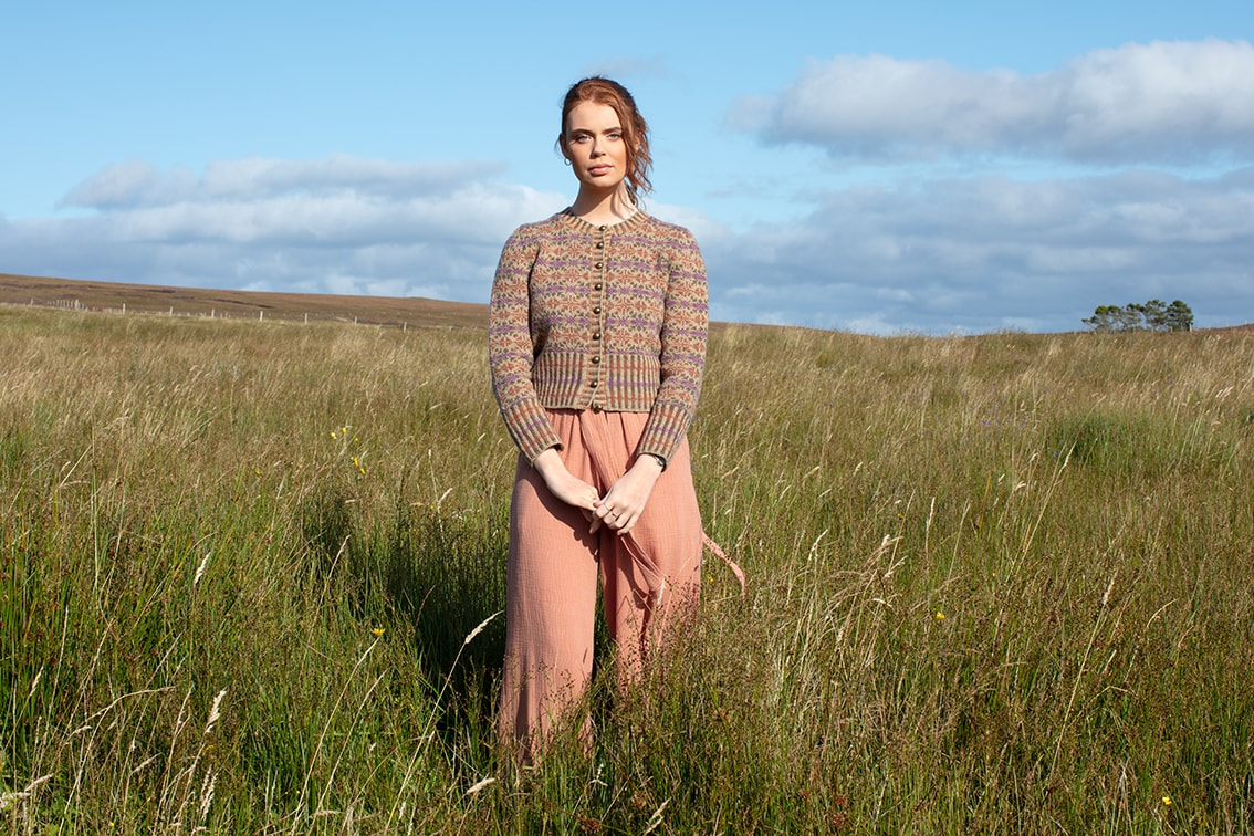 Meadowsweet patterncard knitwear design by Alice Starmore in pure wool Hebridean 2 Ply hand knitting yarn