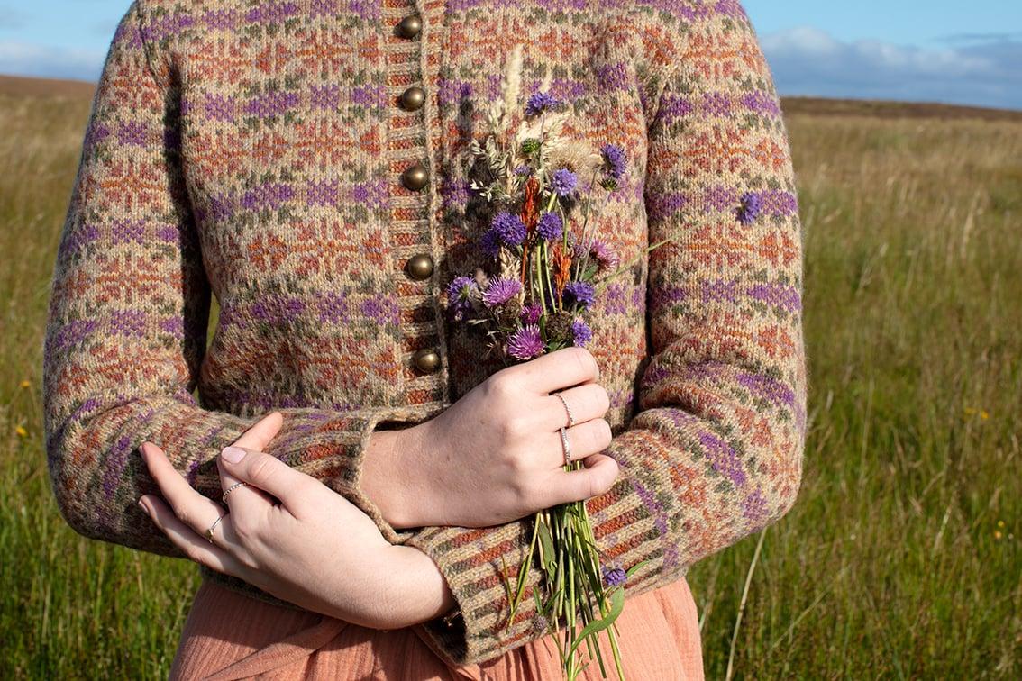 Meadowsweet patterncard knitwear design by Alice Starmore in pure wool Hebridean 2 Ply hand knitting yarn
