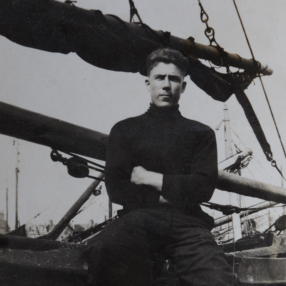 Thomas Matheson wearing a fisher gansey