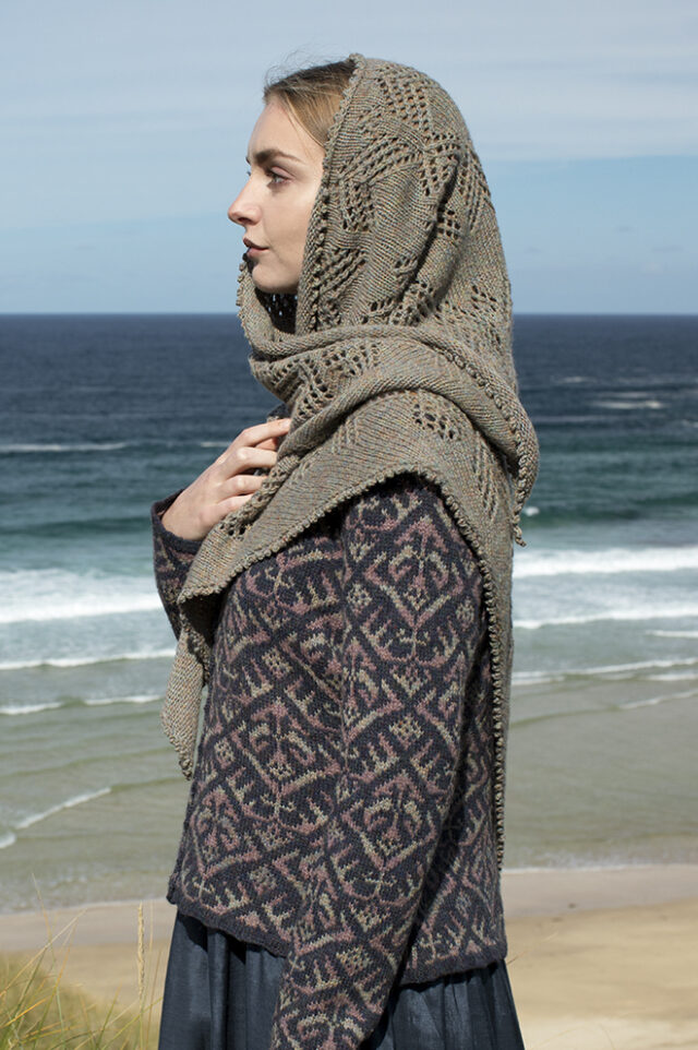 Sulaire patterncard kit design by Alice Starmore in Hebridean 2 Ply yarn