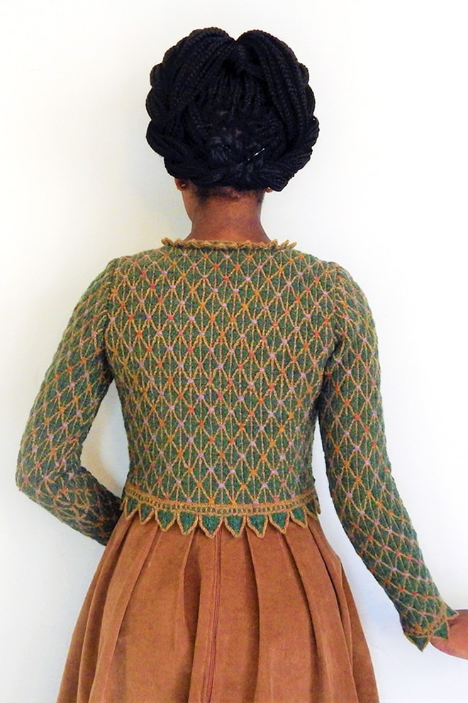 Jane Seymour design from Tudor Roses by Alice Starmore, knitted by Constance Caddell
