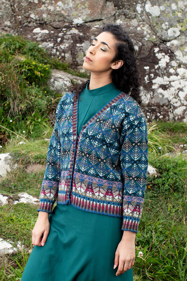 Oregon Spring Cardigan patterncard kit design by Alice Starmore in Hebridean 2 Ply yarn