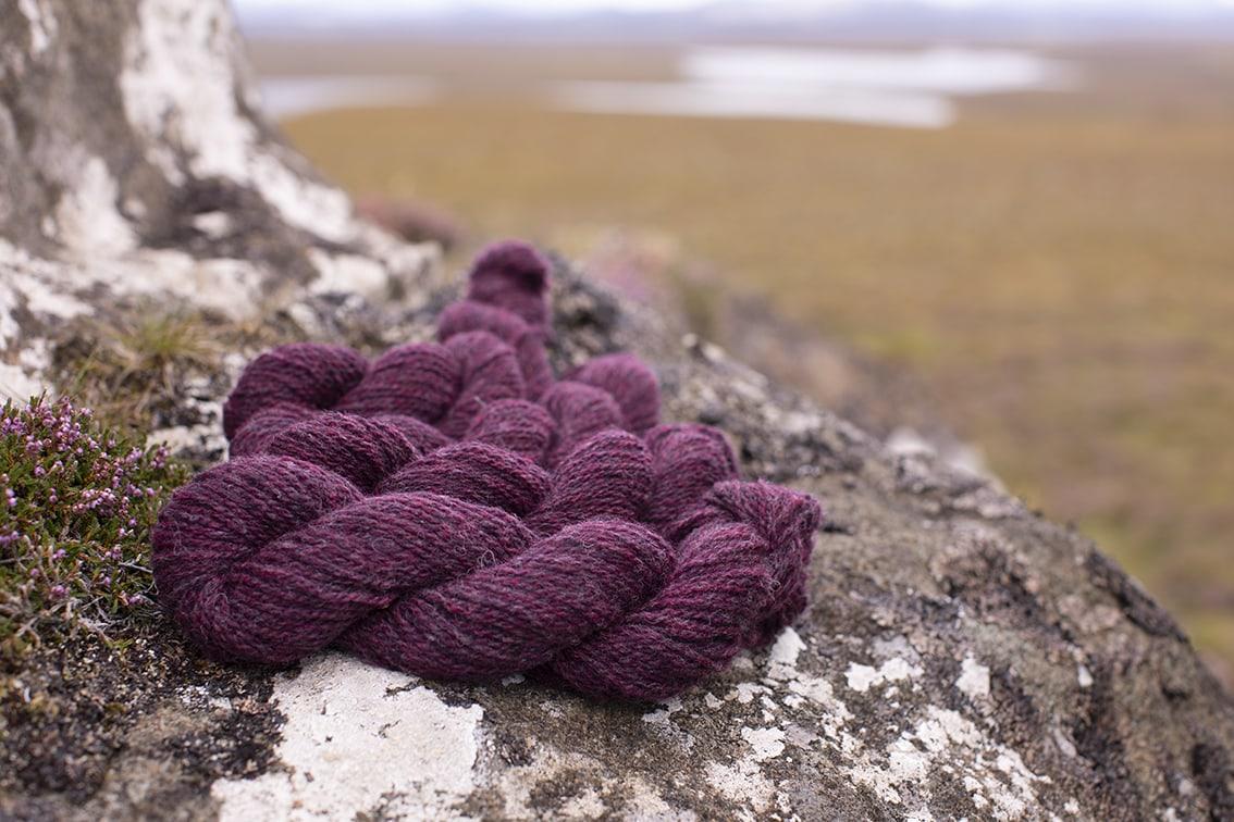 Alice Starmore 2 Ply Hebridean hand knitting yarn in Erica