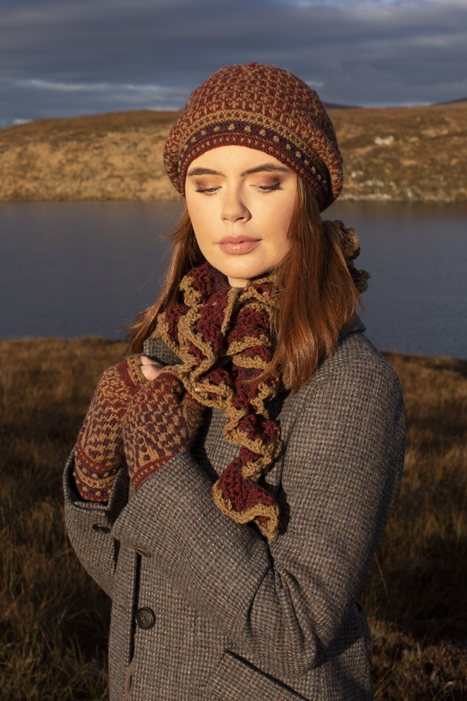 Briodag patterncard kit design by Alice Starmore in Hebridean 2 Ply yarn