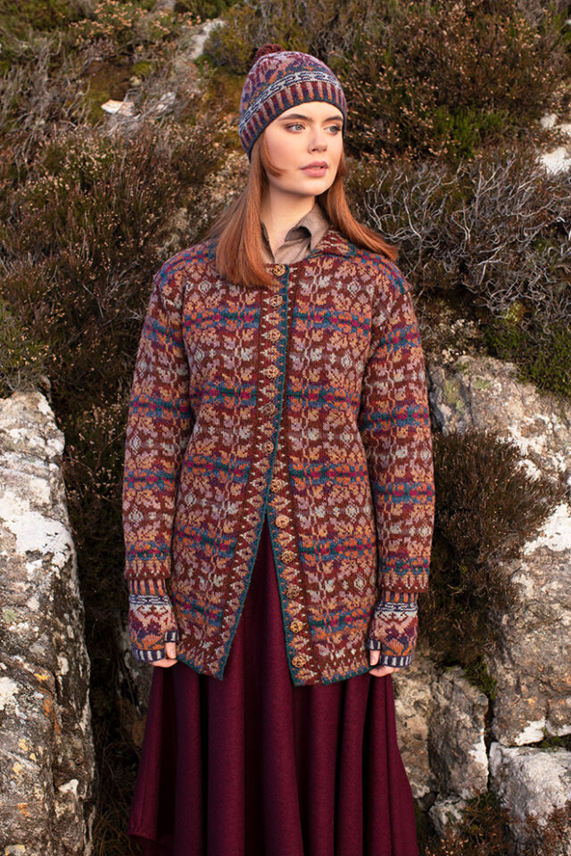 Alt na Harra patterncard kit design by Alice Starmore in Hebridean 2 Ply yarn