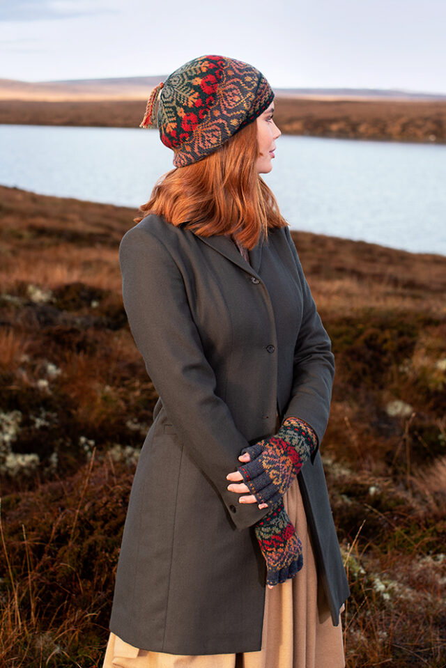 Jacobite Rose patterncard kit design by Alice Starmore in Hebridean 2 Ply yarn