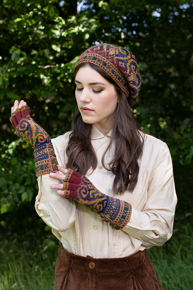 Henry VIII Hat Set patterncard kit design by Alice Starmore in Hebridean 2 Ply yarn