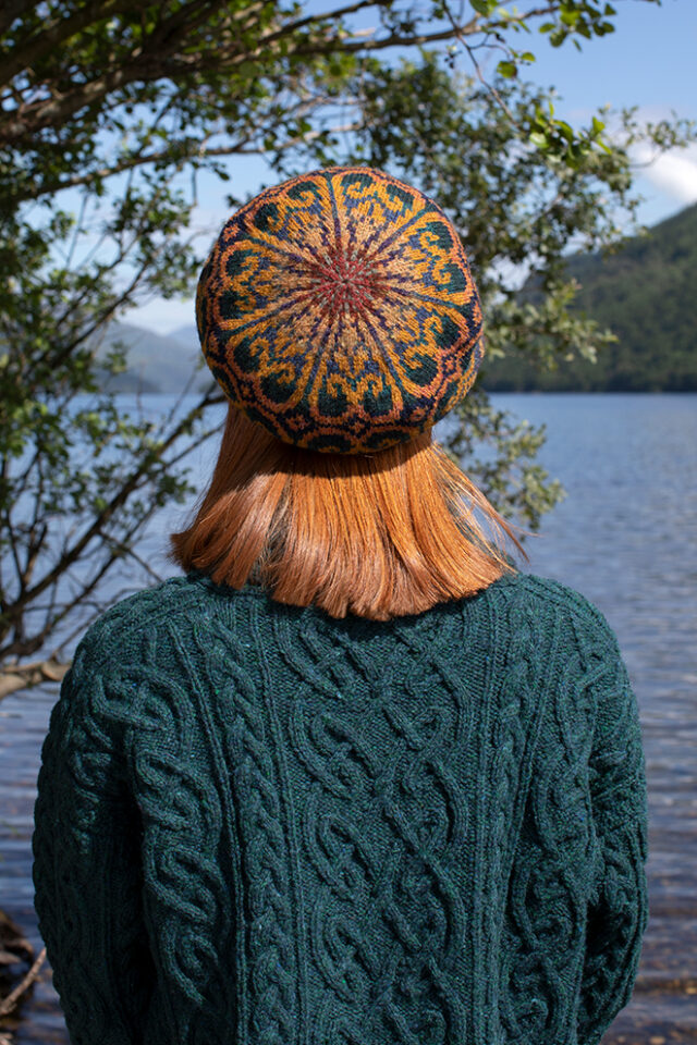 Henry VIII Hat Set patterncard kit design by Alice Starmore in Hebridean 2 Ply yarn and the St Brigid pullover in Hebridean 3 Ply from the book Aran Knitting by Alice Starmore