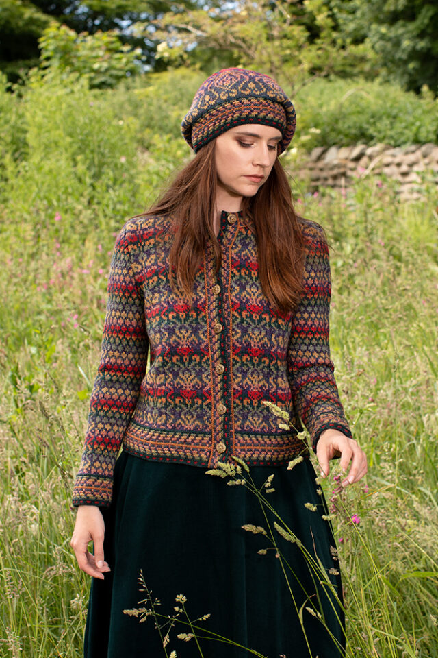 Jacobite Rose Hat Set and Cardigan patterncard kit designs by Alice Starmore in Hebridean 2 Ply yarn