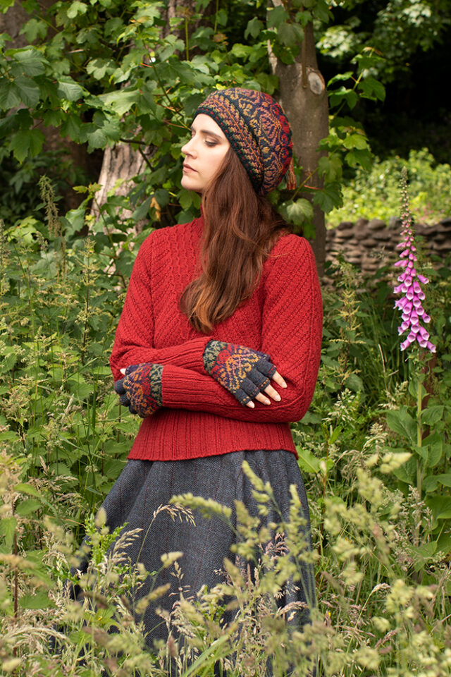Staran and Jacobite Rose Hat Set patterncard kit designs by Alice Starmore in Hebridean 3 Ply yarn