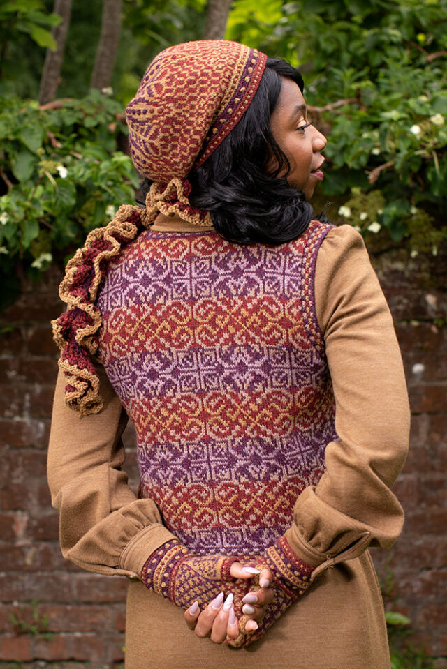 Briodag Hat Set by Alice Starmore and Rosarie waistcoat design by Jade Starmore in Hebridean 2 Ply yarn