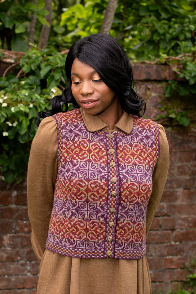 Rosarie patterncard kit design by Jade Starmore in Hebridean 2 Ply yarn