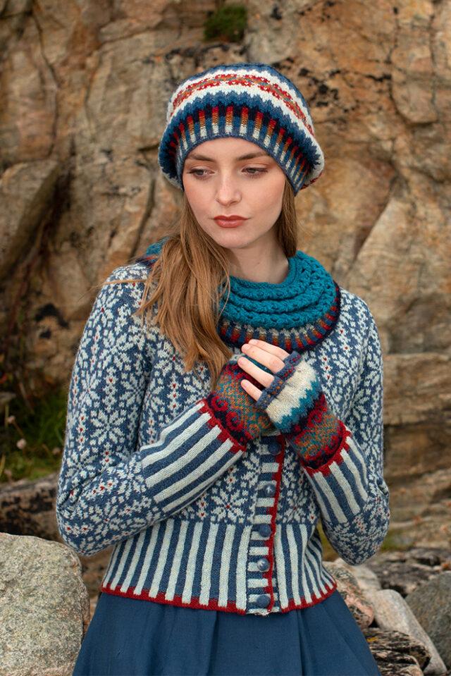 Polaris patterncard kit design by Alice & Jade Starmore in Hebridean 2 Ply yarn